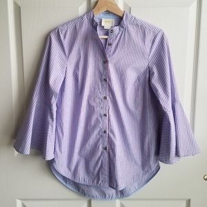 Maeve Anthropologie Striped Poplin Shirt Size 0